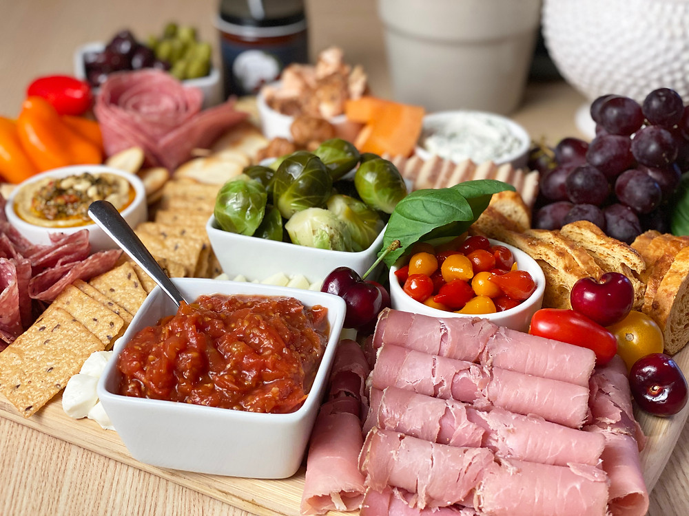 charcuterie with tomato jam