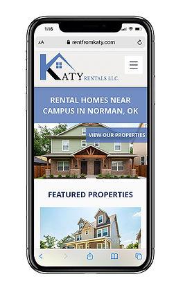 Katy Rentals website on Mobile