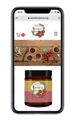 Jennifer's Jams website on mobile Blue Ring Design