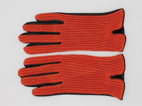 Damen Lederreithandschuh Sommer Sport Strick orange / Leder manchu