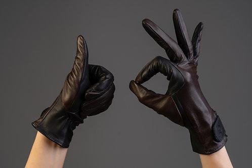 Damen Lederreithandschuh Classic conker black