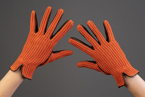 Damen Lederreithandschuh Sommer Sport Strick orange  manchu