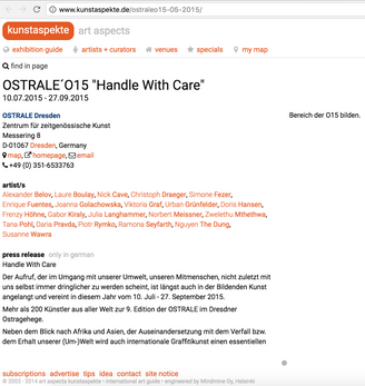 Exhibition: OSTRALE, Dresden, Germany
