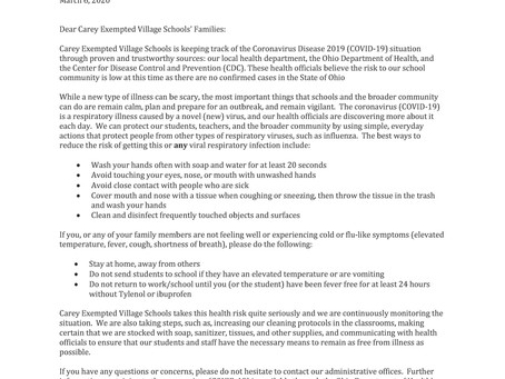 An update from Carey Exempted Village Schools on coronavirus prevention and planning.