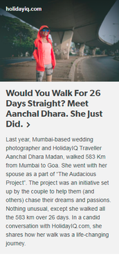 Would You Walk For 26 Days Straight? Meet Aanchal Dhara. She Just Did.