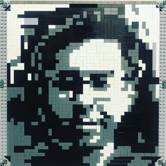 Made a portrait out of Lego pieces for a friend.