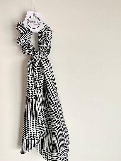 Black & White Houndstooth Scarf Scrunchie