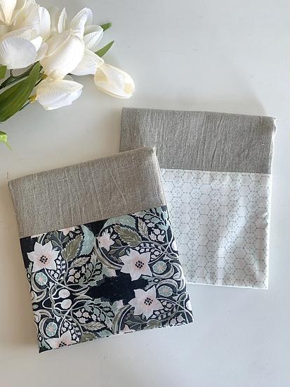 Cuffed Linen Tea Towel - 2 pk Softly Blue