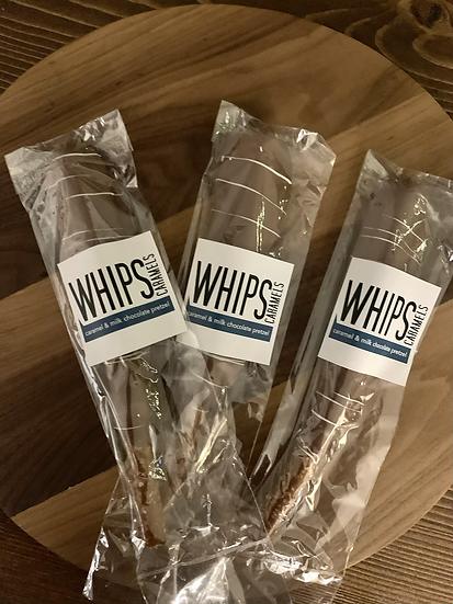 Whips Caramels & Milk Chocolate Pretzel Rod