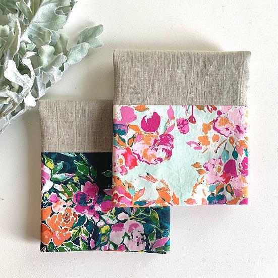 Cuffed Linen Tea Towel - 2 pk Blooms