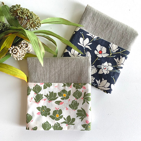Cuffed Linen Tea Towel - 2 pk Navy/Green Floral