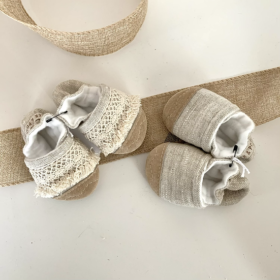 Soft Soled Handcrafted Linen Slippers