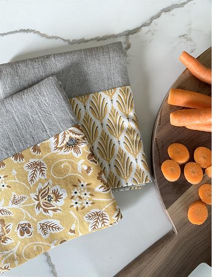 Cuffed Linen Tea Towel - 2 pk Autumn Sunshine