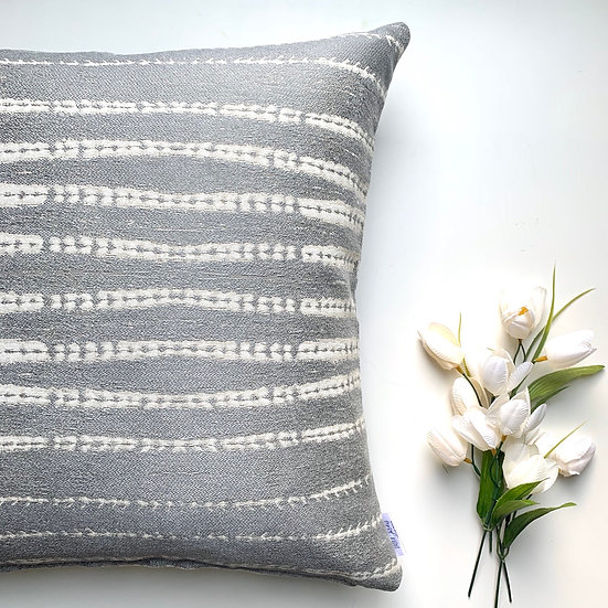 Grey Sand Waves Accent Pillow