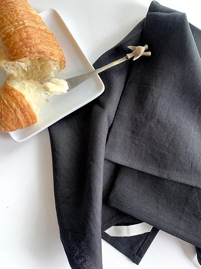 Black Linen Tea Towels - 2 pk