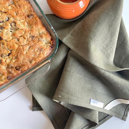 Dark Olive Linen Tea Towels - 2 pk