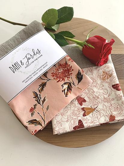 Cuffed Linen Tea Towel - 2 pk Spring Blooms & Butterflies