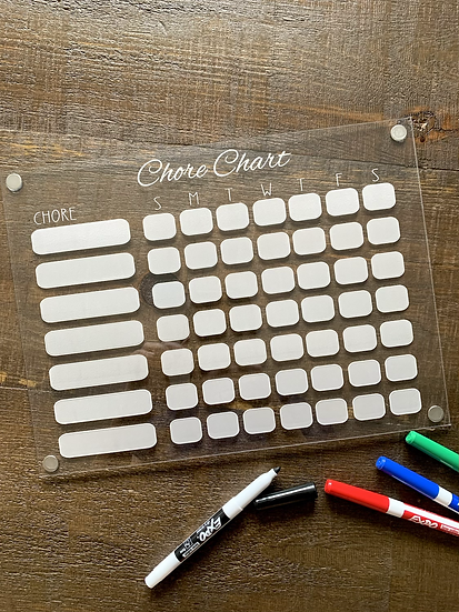 Acrylic Chore Chart - Magnetic