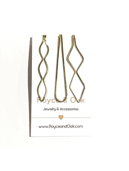 3 Hair Pins - Gold