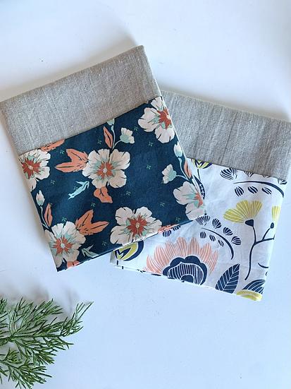 Cuffed Linen Tea Towels - 2 pk Winter Blues