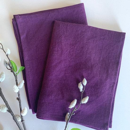 Eggplant Linen Tea Towels - 2 pk