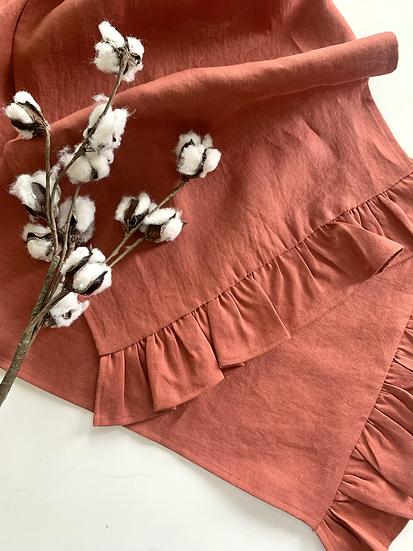 Linen Ruffled Table Runner - Terracotta