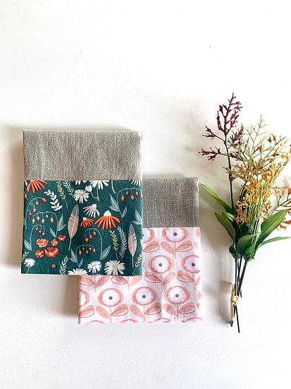 Cuffed Linen Tea Towel - 2 pk Fall Forest Green