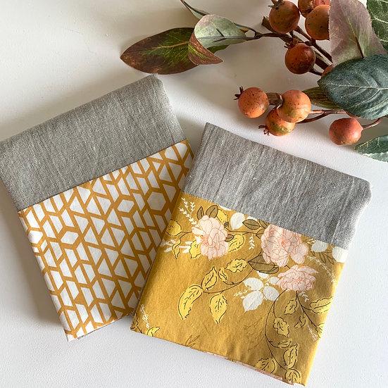 Cuffed Linen Tea Towel - 2 pk Mustard
