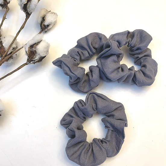 Linen Scrunchie - Grey Frost