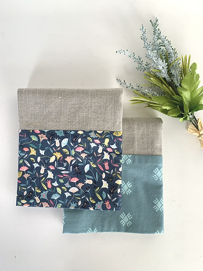 Cuffed Linen Tea Towel - 2 pk Spring in Teal