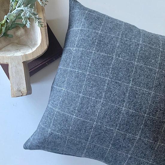 Grey Windowpane Accent Pillow