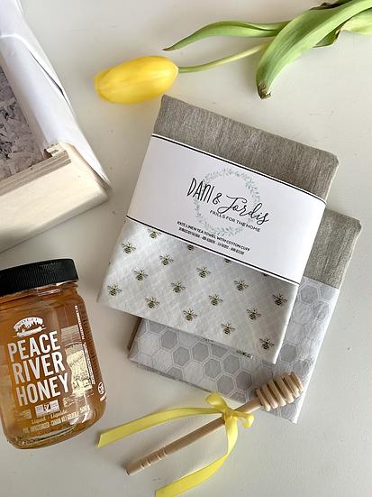 Cuffed Linen Tea Towel - 2 pk Bees
