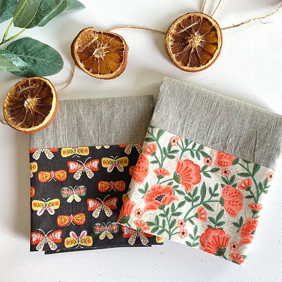 Cuffed Linen Tea Towels - 2 pk Autumn Butterflies