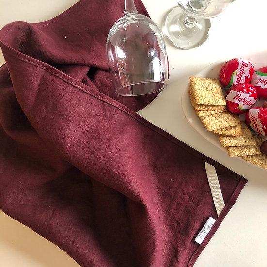 Merlot Linen Tea Towels - 2 pk