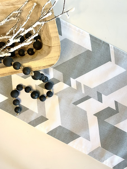 Table Runner - Grey Chevron