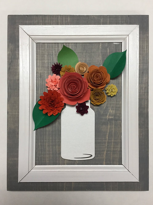 Framed Jar with Paper Flowers