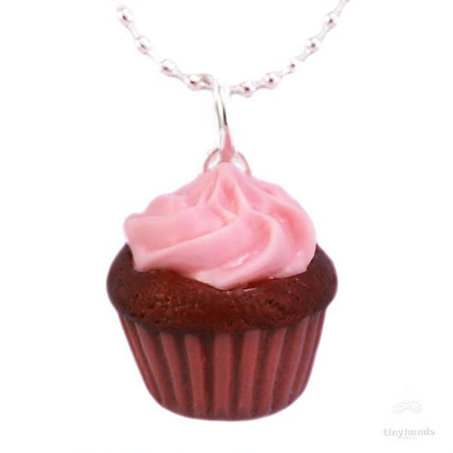 Tiny Hands Necklace - Scented Strawberry Chocolate Cupcake