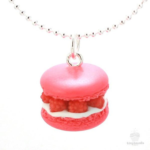 Tiny Hands Necklace - Scented Raspberry French Macaron