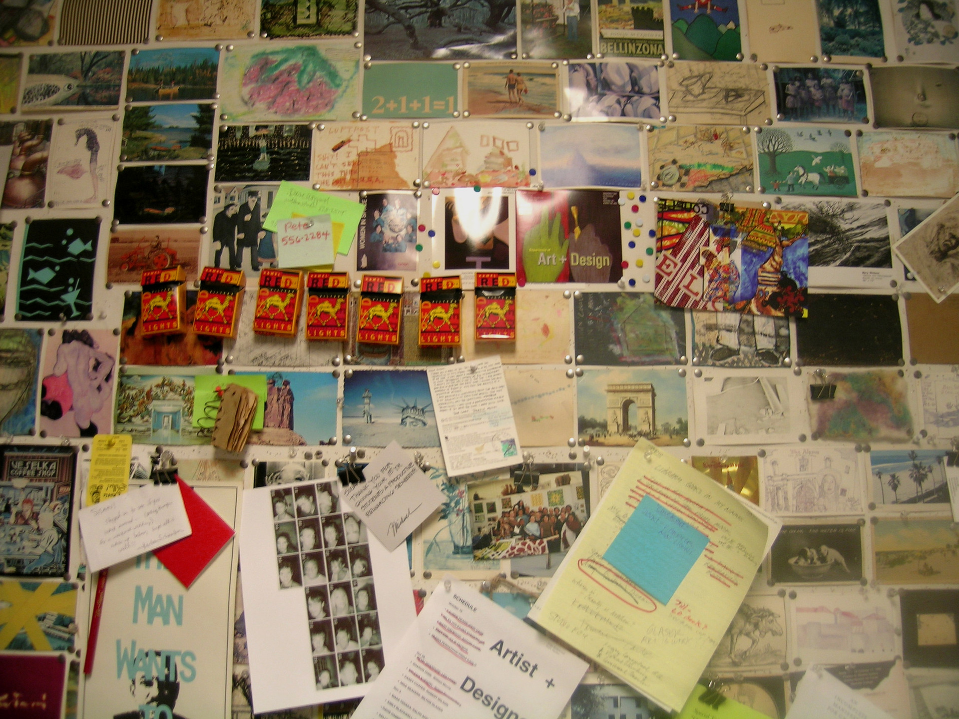 office wall w. postcards