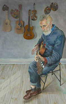 'John Byrne and His Guitars' - Oil on ca