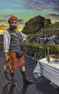 'Portrait of Tony Singh MBE' - Oil on bo