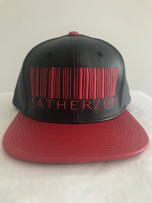 FATHERZUP RED AND BLACK LEATHER SNAPBACK