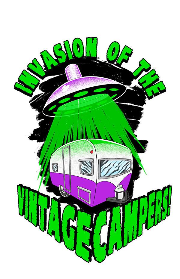 Invasion Of The Vintage Campers! (sticker design)