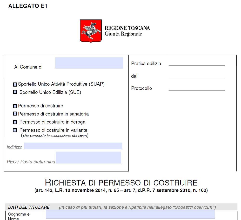PDC ISTANZA - ALLEGATO E1