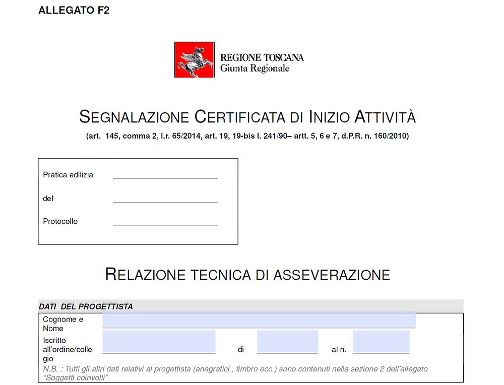 SCIA RELAZIONE ASSEVERAZIONE - ALLEGATO F2