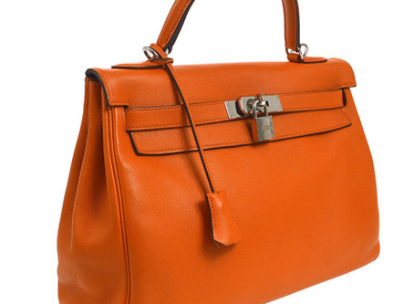 HERMES KELLY 32 2way Hand Bag Orange Veau Swift Authentic
