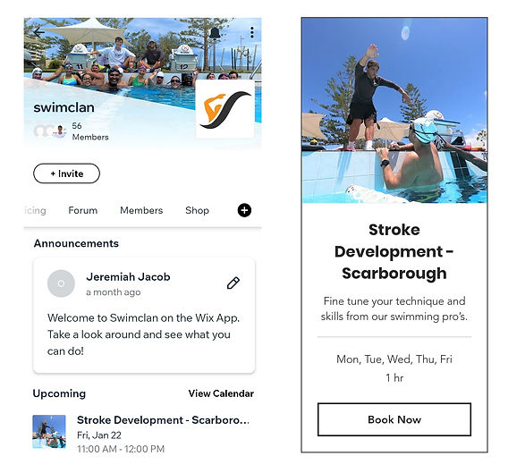 A mobile view of the Wix App on the left and Swimclan website on the right