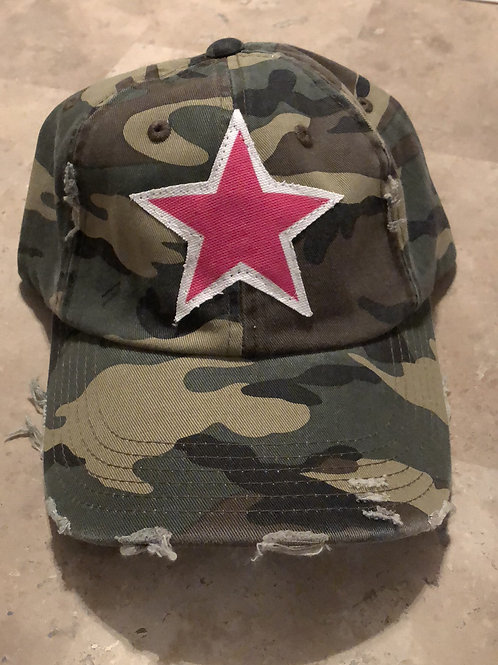 Pink Star Camo Distressed Hat