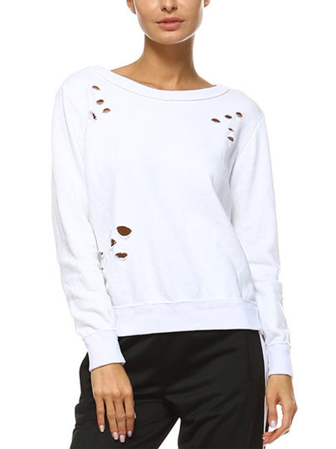 Banded Bottom Distressed White Sweatshirt