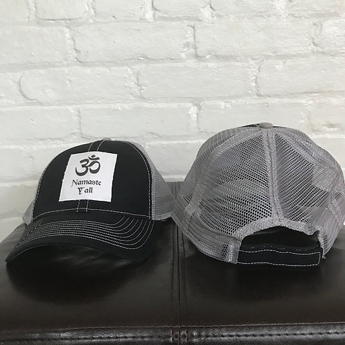 Namaste Y'all Black/Grey Trucker Hat